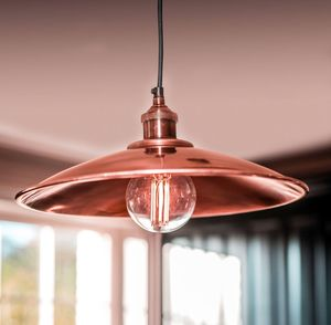 Moderne Large Antique Copper Tapered Shade And Fitment - ceiling lights