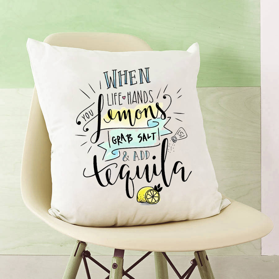 When Life Gives You Lemons Quote Cushion By Lisa Marie Designs