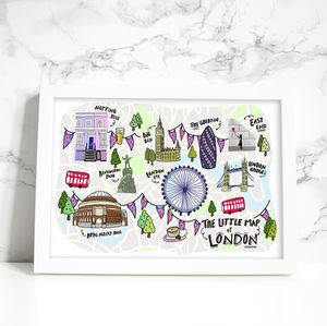 'The Little Map Of London' Illustrated Print - maps & locations