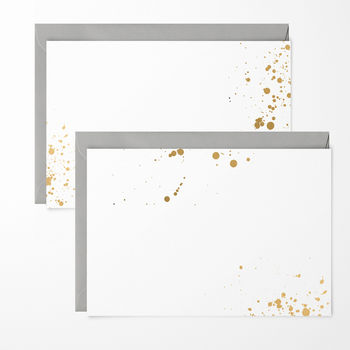 Gold Ink Splash Note Cards Pack Of Six