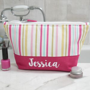 Personalised Candy Stripe Design Make Up Bag