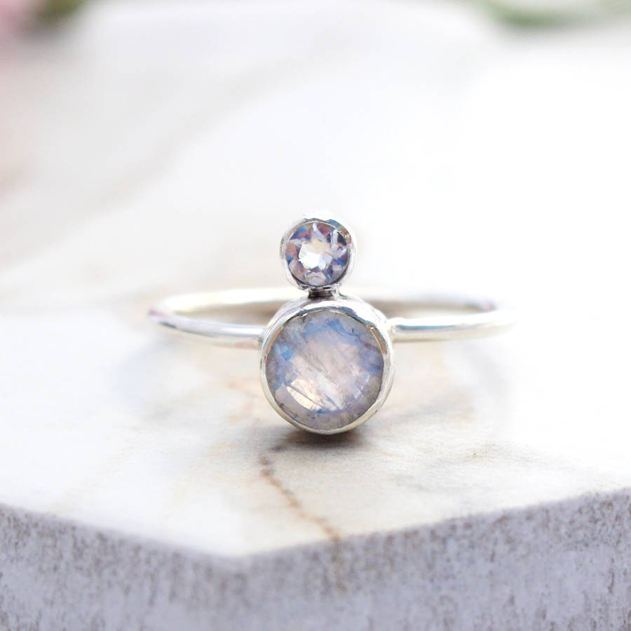 Fedor, Double Round Bohemian Moonstone Ring