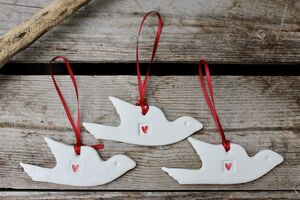 Two White Ceramic Dove Decorations