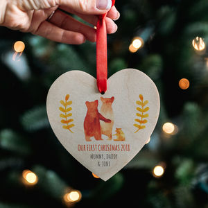 Baby's First Christmas Bear Family Heart Decoration - our top new picks