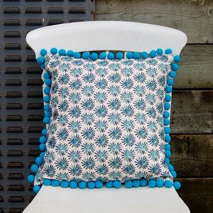 Black Dandelion Cushion With Turquoise Pom Poms - cushions