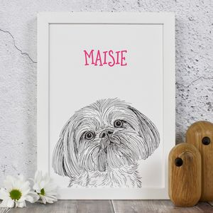 Lhasa Apso Personalised Dog Portrait