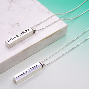 Silver Men's Chunky Personalised Pendant - necklaces