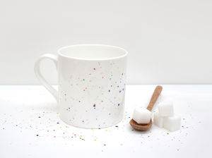 Multicoloured Paint Splatter Bone China Mug