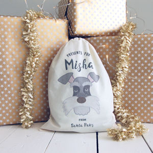 Dog Santa Sack Small Personalised - stockings & sacks