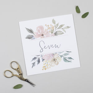 Floral Blush Table Number Cards Pack