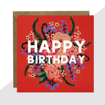 'Happy Birthday' Floral Card