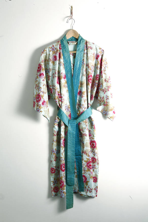 Cotton Wrap Over Kimono In Blue Beautiful By Caro London