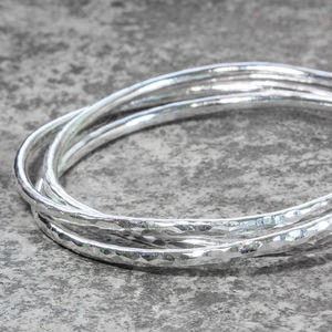 Sterling Silver Chunky Linked Hammered Bangle - bracelets & bangles