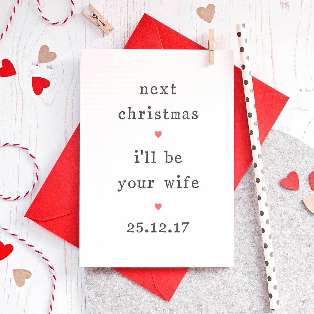 Next christmas fiance christmas card by the two wagtails next christmas fiance christmas card kristyandbryce Choice Image