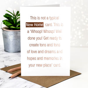 New Home Card 'Not A Typical' Rose Gold Foil
