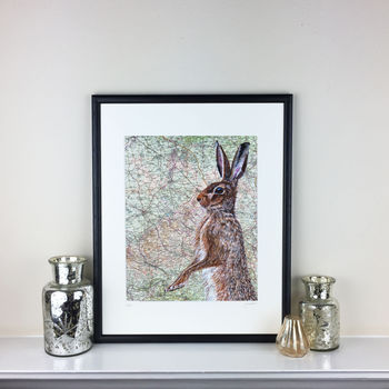 Hare On Map Of Buckinghamshire Limited Edition Print