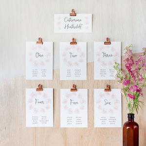 Cotton Candy Table Plan And Table Number Cards