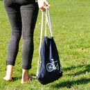 Navy Blue Bicycle Drawstring Bag