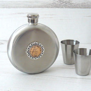 Round Birthday Coin Hipflask And Cups - women's accessories