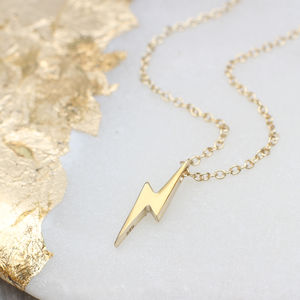 Personalised 18ct Gold Lightning Necklace