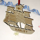 Personalised Pirate Ship Christmas Decoration