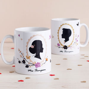 Set Of Two Romantic Silhouette Mr And Mrs Mugs - mugs