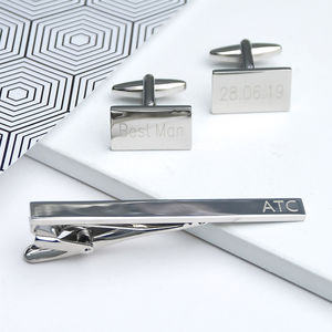 Silver Personalised Cufflinks And Tie Clip Set