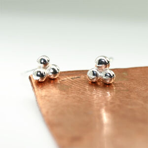 'Beautifully Simple' Handmade Three Balls Silver Studs