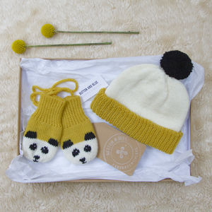 Mustard Yellow Panda Baby Gift Set - babies' hats
