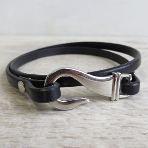 Hook Clasp Leather Wrap Bracelet - bracelets & bangles