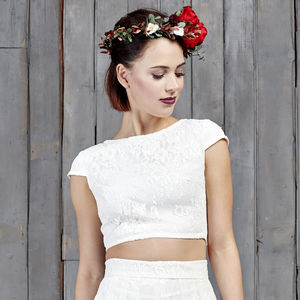 Drakeford Lace Bridal Capped Sleeved Top - dresses