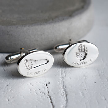 Silver Handprint And Footprint Oval Cufflinks For Dad