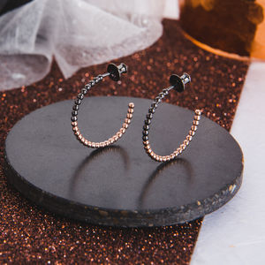 Small Two Tone Beaded Hoop Earrings