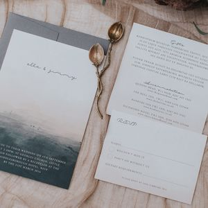 Dusty Pink And Black Boho Wedding Invitation Set