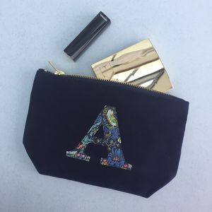 Liberty Print And Velvet Personalised Make Up Bag