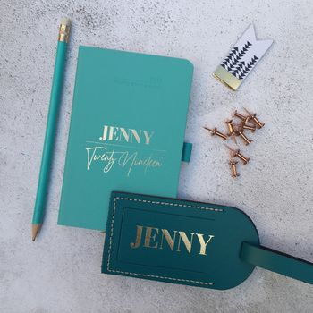 Personalised Scrawl Diary And Luggage Tag