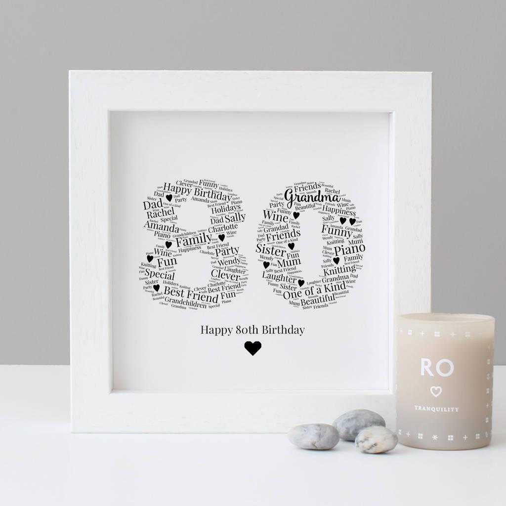 Personalised 80th Birthday Gift Print