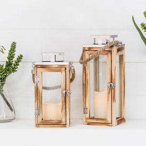 Set Of Two Salcombe Wooden Candle Lanterns