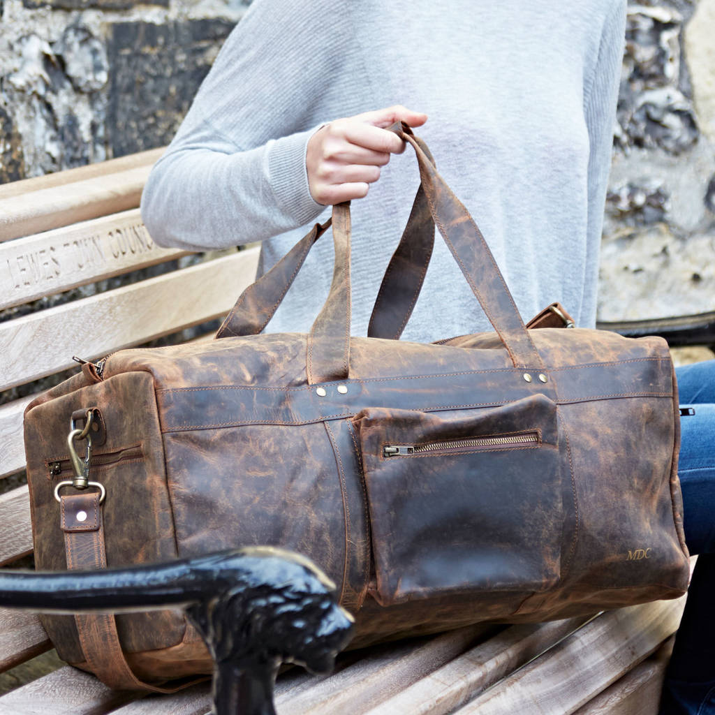73245a630fb personalised buffalo leather duffle bag by paper high ...