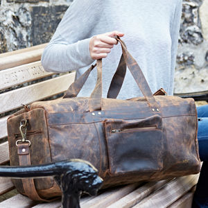 Personalised Buffalo Leather Duffle Bag - bags