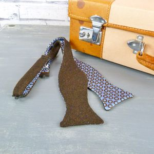 Yorkshire Tweed And Silk Self Tie Bow Tie - mens