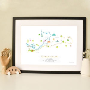 Great Manchester Run Half Marathon Route Map Print - personalised