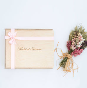 'Maid Of Honour' Engraved Wooden Gift Box - ribbon & wrap