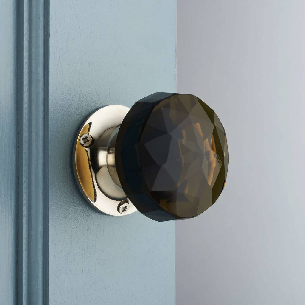 Dark Glass Internal Turning Mortice Door Knobs