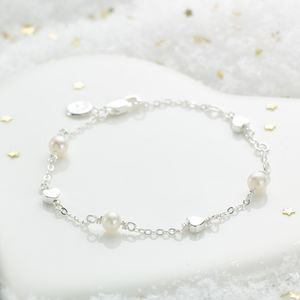 Girls Pearl And Heart Bracelet - christening jewellery