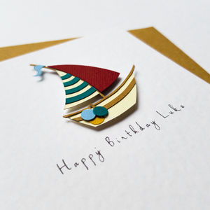 Personalised Red Sail Boat Greeting Card