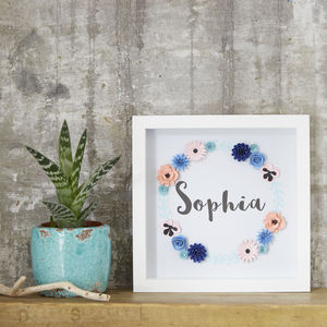 Personalised Name Framed Floral Art Picture - typography