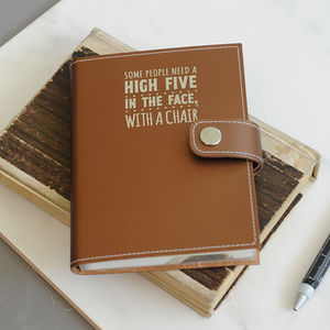 Undercover Leather Slogan Snapped Notebook