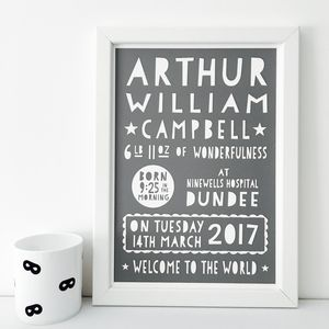 Personalised Birth Print / 17 Colours To Choose - family & home