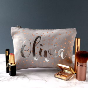 Rose Gold And Silver Triangle Make Up Bag - wash & toiletry bags